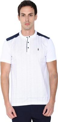 Arrow New York Printed Men's Mandarin Collar White T-Shirt