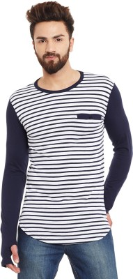 Hypernation Striped Men Round Neck Blue, Grey T-Shirt