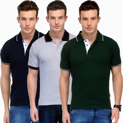 Scott International Solid Men's Polo Neck Grey, Green, Dark Blue T-Shirt(Pack of 3) at flipkart