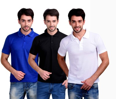 First Trend Solid Men Polo Neck White, Black, Dark Blue T-Shirt(Pack of 3)