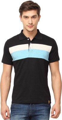 Campus Sutra Solid Men Polo Neck Black T-Shirt at flipkart