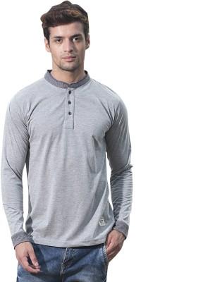 Alan Jones Solid Men Henley Grey T Shirt
