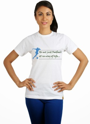Campus Sutra Printed Women Round Neck White T-Shirt at flipkart