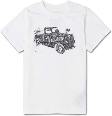 Levi's Boys Graphic Print Cotton T Shirt(White, Pack of 1)  available at flipkart for Rs.299