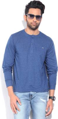Lee Solid Men's Henley Blue T-Shirt