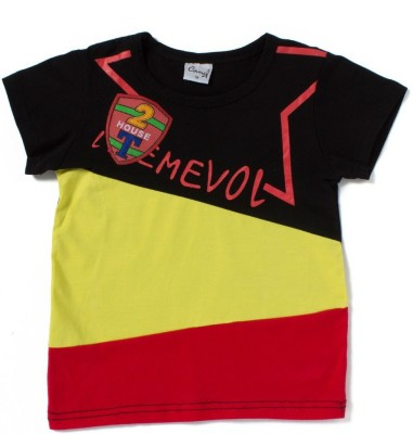 Camey Girls Printed T Shirt(Black)