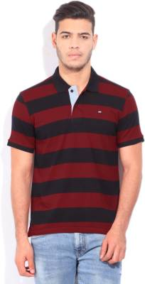 Arrow Sports Striped Men's Polo Neck Black, Red T-Shirt