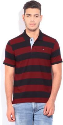 Arrow Sports Striped Men's Polo Neck Black, Red T-Shirt