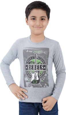Mint Boys Printed Cotton T Shirt(Grey, Pack of 1)