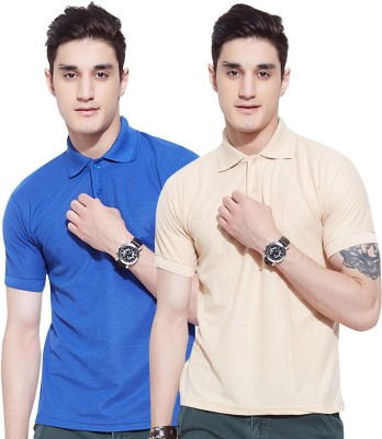 Go India Store Solid Men's Polo Neck Blue, Beige T-Shirt(Pack of 2)