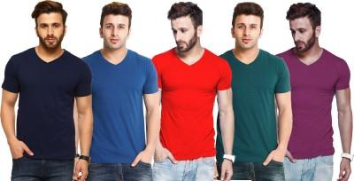 Tripr Solid Men V-Neck Green, Grey, Black, Dark Blue T-Shirt(Pack of 4)