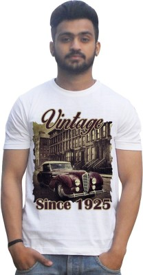 Lovely Collection Printed Men's Round Neck White T-Shirt