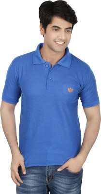 French Circle Solid Men's Polo Neck Blue T-Shirt