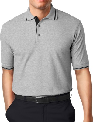 Moody's Kitchen Solid Men's Polo Neck Grey T-Shirt