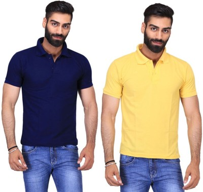 Fuego Solid Men's Polo Neck Dark Blue, Yellow T-Shirt(Pack of 2)