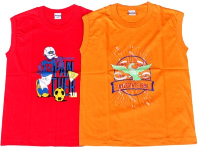 Padma Boys Printed Cotton Blend T Shirt(Multicolor, Pack of 2)