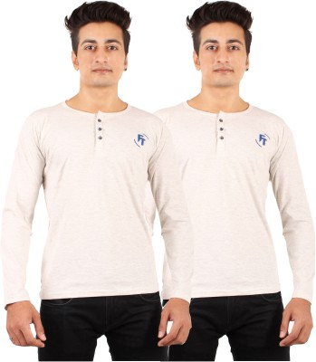 FTrick Solid Men's Henley Grey T-Shirt(Pack of 2)