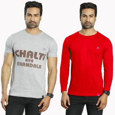 Albiten Solid Men's Round Neck Grey, Red T-Shirt(Pack of 2)