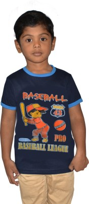 Clever Boys Printed T Shirt(Dark Blue)