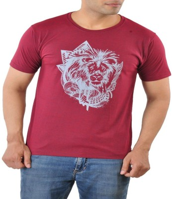 Mabyn Printed Men's Round Neck Maroon T-Shirt