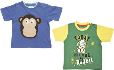 JusCubs Boys Embroidered T Shirt(Multicolor, Pack of 2)