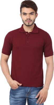 Active Basic Solid Men Polo Neck Maroon T-Shirt