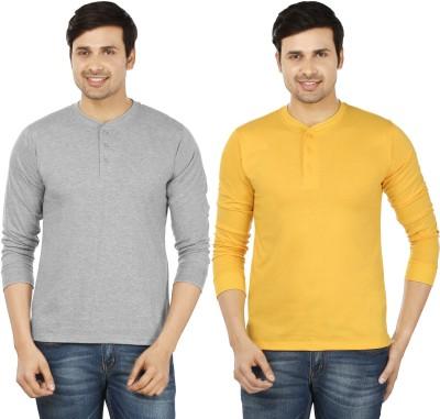 Mufti Solid Men Henley Yellow T-Shirt