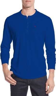 Moody's Kitchen Solid Men's Henley Blue T-Shirt