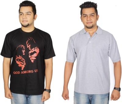 Leo Clothing Printed Men's Round Neck Reversible Black, Grey T-Shirt(Pack of 2)