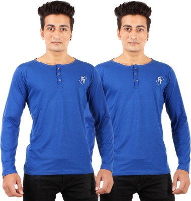 FTrick Solid Men's Henley Blue T-Shirt(Pack of 2)