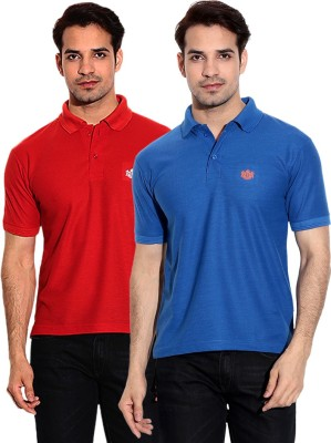 French Circle Solid Men's Polo Neck Blue, Red T-Shirt(Pack of 2)
