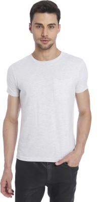 Jack & Jones Solid Men's Round Neck Grey T-Shirt at flipkart