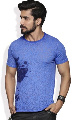 Roadster Printed Men Round Neck Blue T-Shirt at flipkart