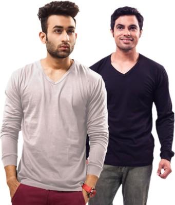 Unisopent Designs Solid Men V Neck Dark Blue, Grey T Shirt Pack of 2