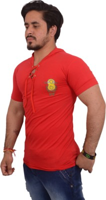 Hero & Piyush Solid Men Hooded Red T-Shirt at flipkart