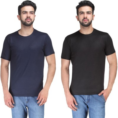 TSX Solid Men's Round Neck Black, Blue T-Shirt(Pack of 2)