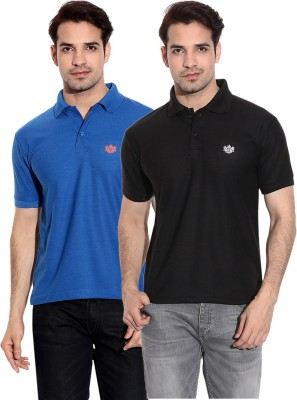 French Circle Solid Men's Polo Neck Blue, Black T-Shirt(Pack of 2)