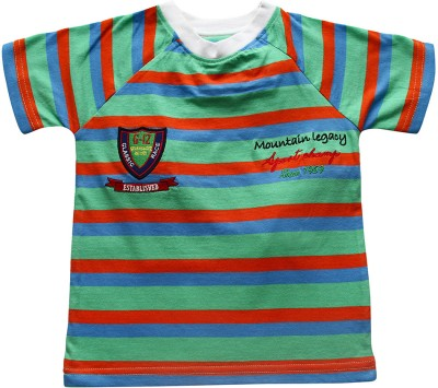 JusCubs Boys Striped T Shirt(Light Green, Pack of 1)