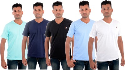 Moladz Solid Men's V-neck Multicolor T-Shirt(Pack of 5)