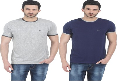 Basics Solid Men Round Neck Dark Blue T-Shirt(Pack of 2) at flipkart
