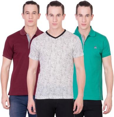 American-Elm Self Design Men's V-neck Multicolor T-Shirt(Pack of 3)