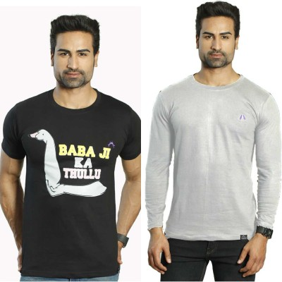 Albiten Solid Men's Round Neck Black, Grey T-Shirt(Pack of 2)