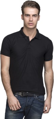 Lambency Solid Men's Polo Neck Black T-Shirt