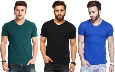 Tripr Printed Men V-Neck Black T-Shirt