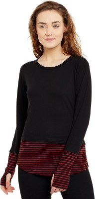 Hypernation Striped, Solid Women Round Neck Red, Black T Shirt Hypernation Women's T shirts
