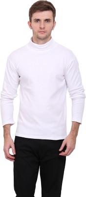 Le Bourgeois Solid Men Polo Neck White T-Shirt