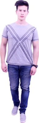 Jericho Solid, Embroidered Men's Round Neck Grey T-Shirt