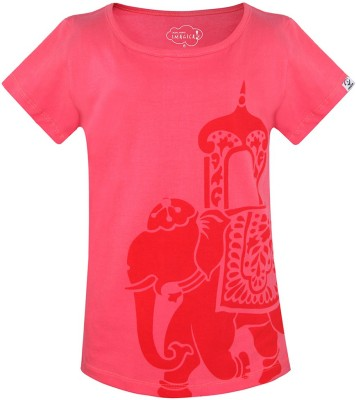Imagica Girls Printed T Shirt(Pink)  available at flipkart for Rs.298