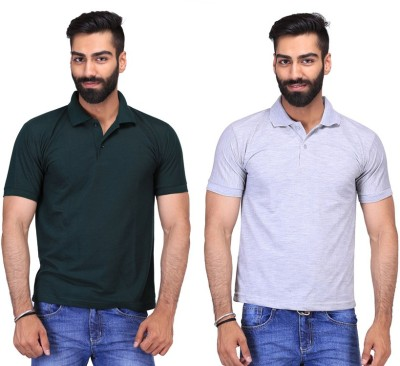 Fuego Solid Men's Polo Neck Dark Green, Grey T-Shirt(Pack of 2)