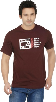 Fizzaro Printed Men's Round Neck Brown T-Shirt  available at flipkart for Rs.199